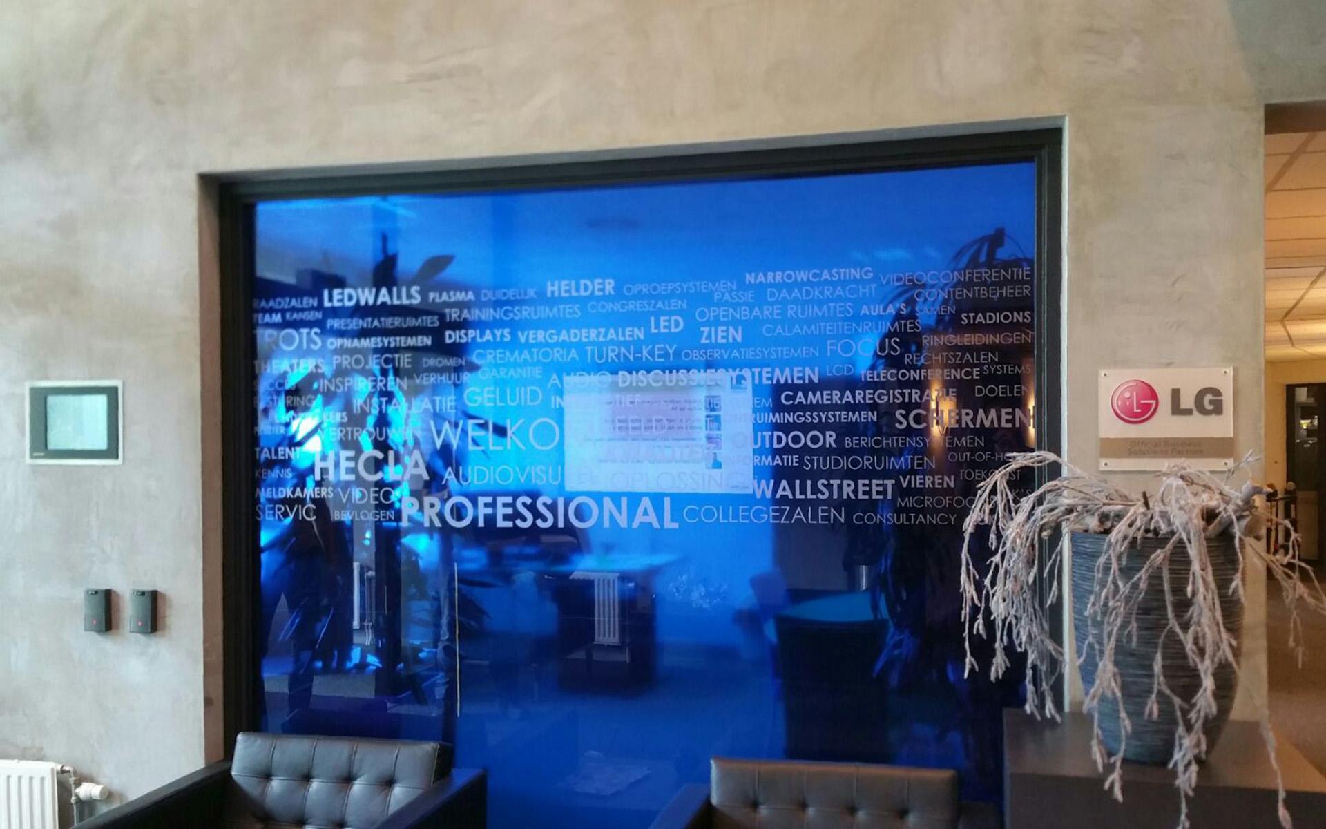 raamdecoratie hecla glazen wand mondice reclame