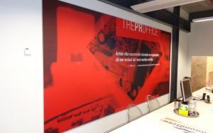 Mondice Reclame heeft op de UT in The Gallery bij The PRoffice een groot en opvallend Soft image systeem gemonteerd.