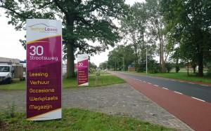 Voor Technolease heeft mondice reclame verschillende dubbelzijdige zuilen geleverd